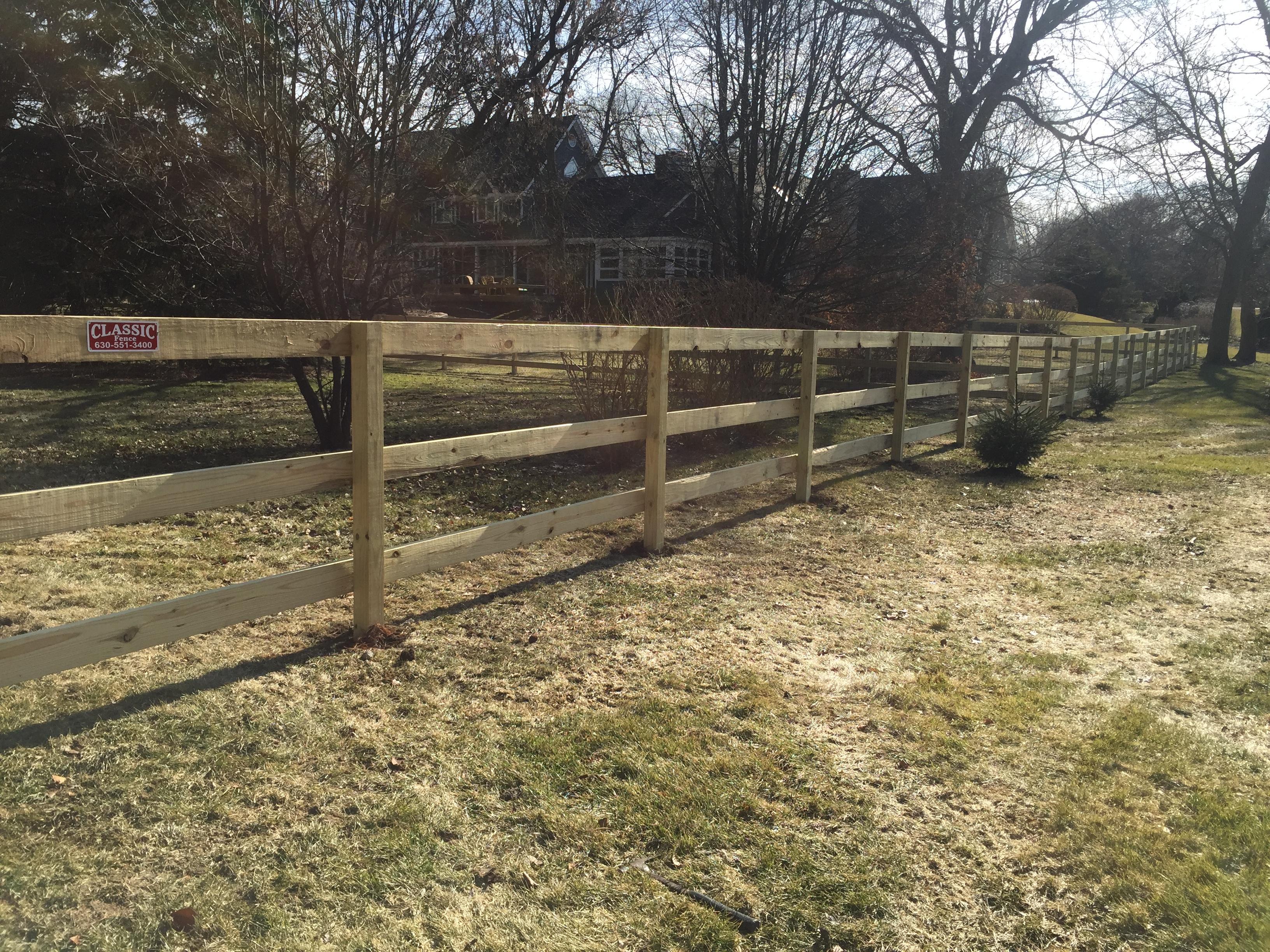 Three Rail Wood Fence